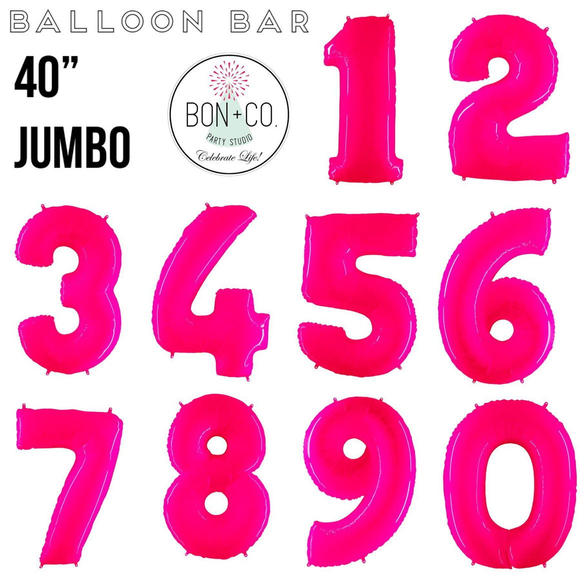 "BALLOON BAR - 40"" JUMBO NUMBER BRIGHT PINK, Balloons, bargain balloons - Bon + Co. Party Studio"