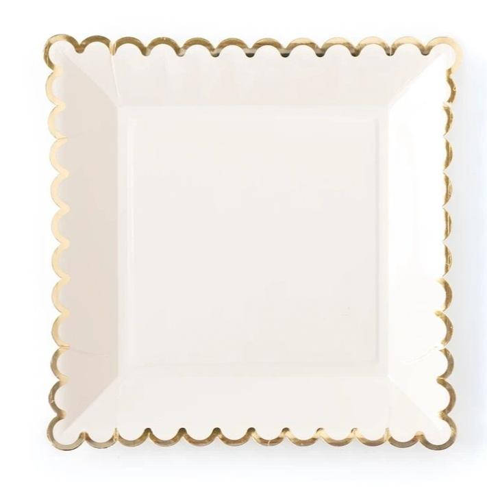 PLATES - LARGE SCALLOP CREAM + GOLD