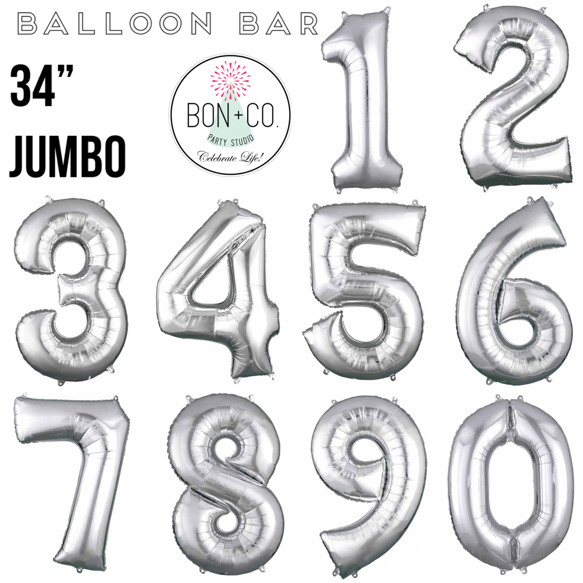 "BALLOON BAR - 34"" JUMBO NUMBER SILVER"
