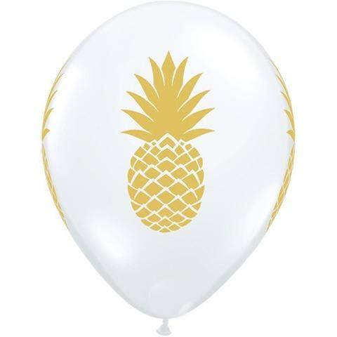 "BALLOON BAR - 11"" GOLD PINEAPPLE ON CLEAR, Balloons, QUALATEX - Bon + Co. Party Studio"