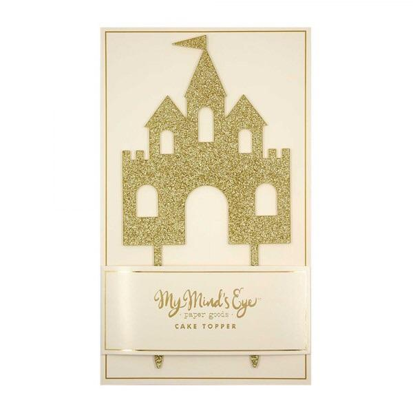 CAKE TOPPER - ACRYLIC CASTLE GOLD GLITTER MY MINDS EYE, Picks + Toppers, My Minds Eye - Bon + Co. Party Studio