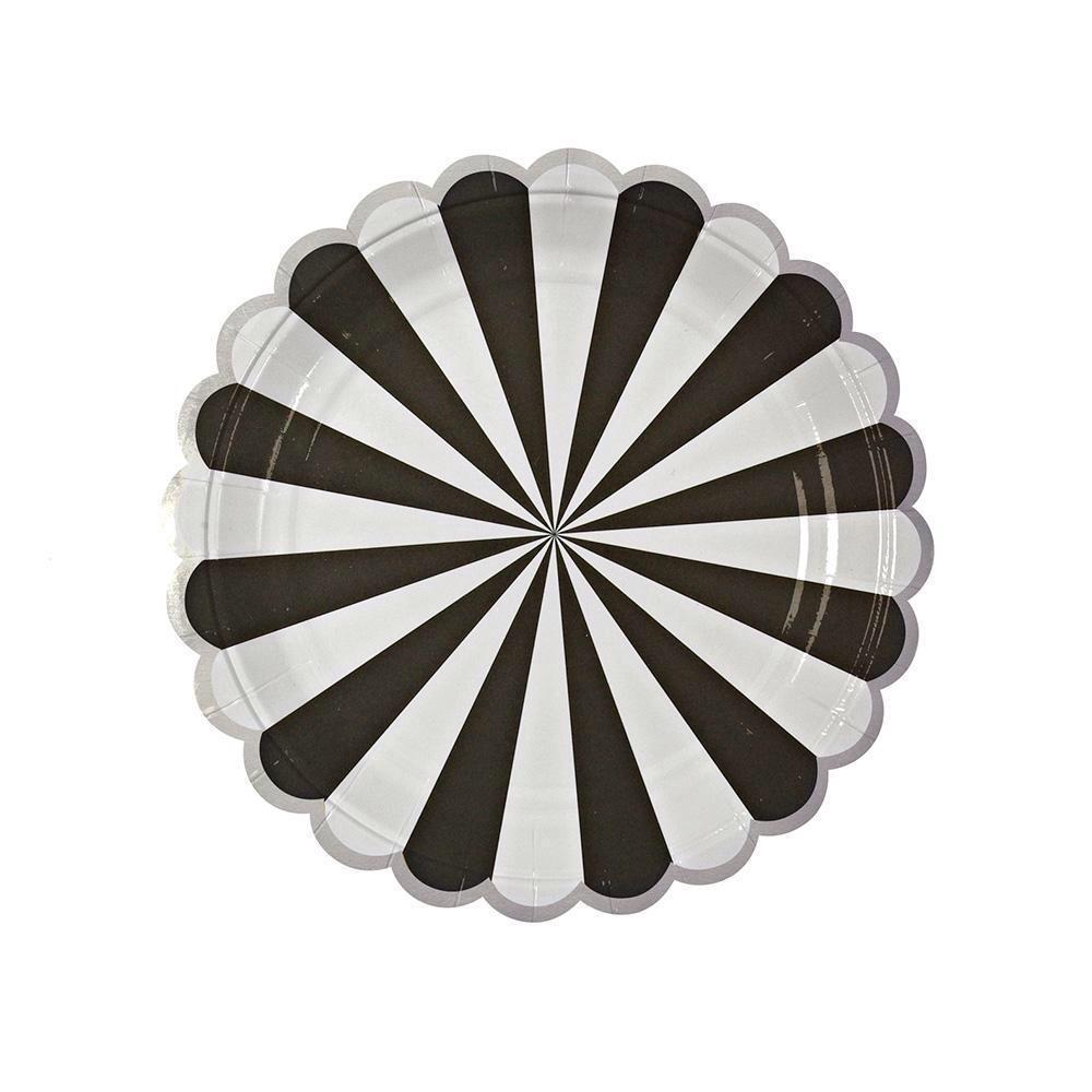 PLATES - SMALL PINWHEEL BLACK STRIPE
