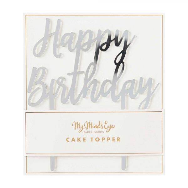 CAKE TOPPER - ACRYLIC HBD SILVER MY MINDS EYE, Picks + Toppers, My Minds Eye - Bon + Co. Party Studio
