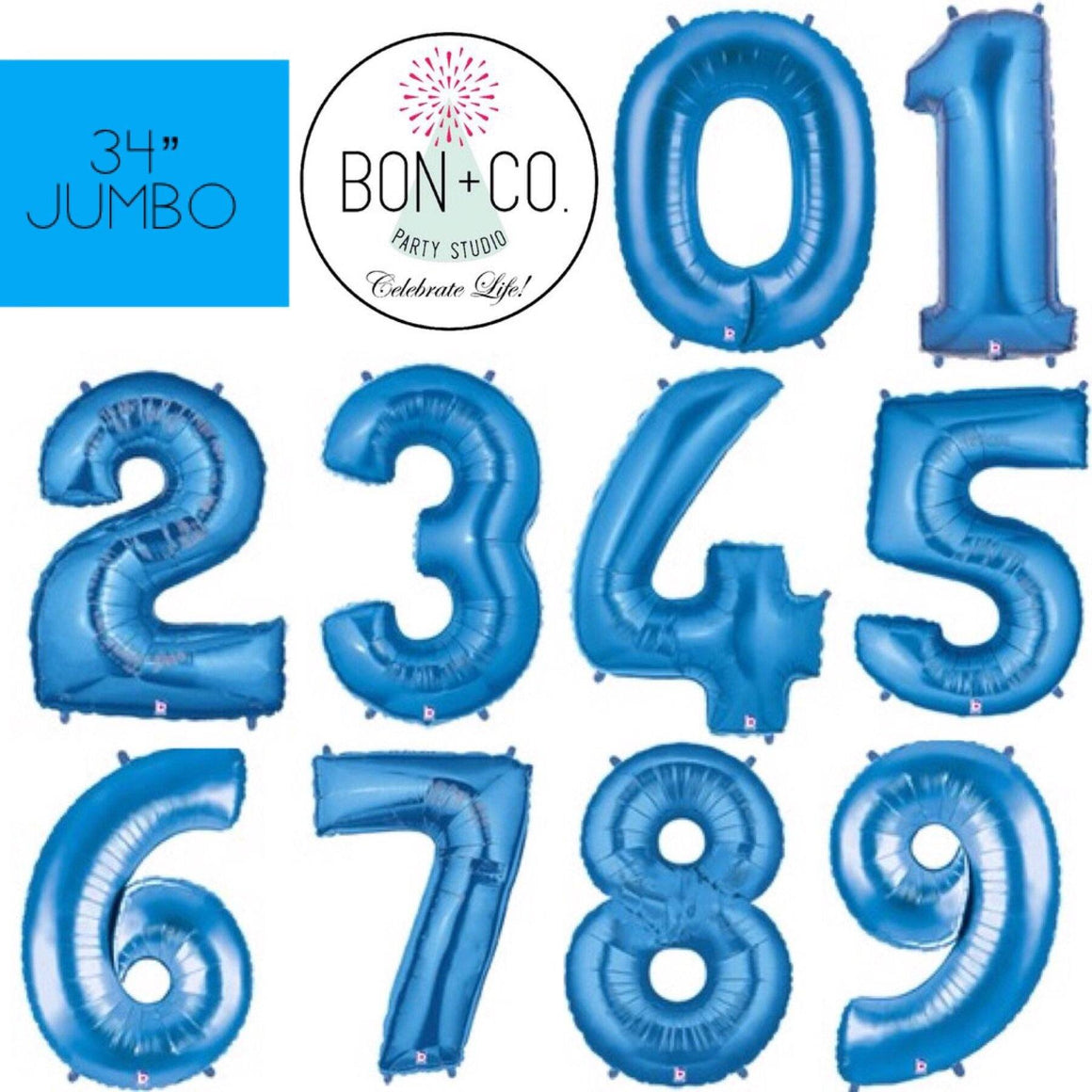 "BALLOON BAR - 34"" JUMBO NUMBER BLUE, Balloons, BETALLIC - Bon + Co. Party Studio"