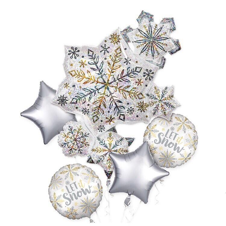 BALLOONS - SNOWFLAKE  SPARKLE LET IT SNOW BOUQUET, Balloons, QUALATEX - Bon + Co. Party Studio