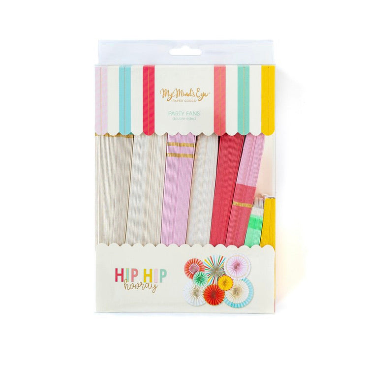 PARTY FANS - PINWHEELS HIP HIP HOORAY BRIGHT