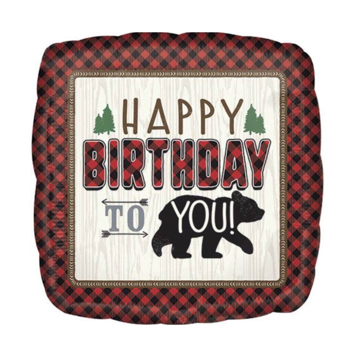 BALLOONS - BUFFALO PLAID BEAR HBD, Balloons, Anagram - Bon + Co. Party Studio