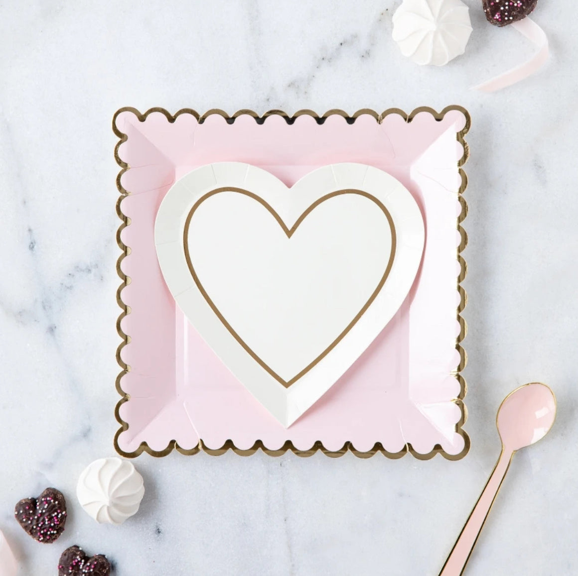 PLATES - SMALL HEART WHITE & GOLD