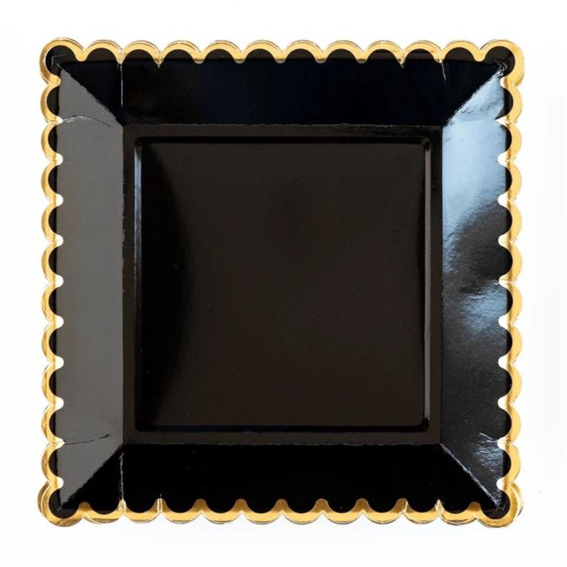PLATES - LARGE SCALLOP BLACK + GOLD