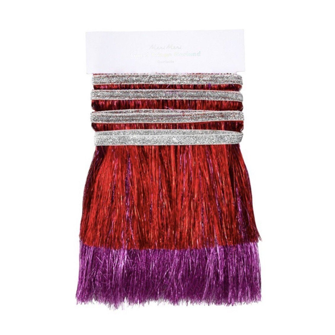 FRINGE GARLAND - RED + PINK, Tassel Garland, Meri meri - Bon + Co. Party Studio