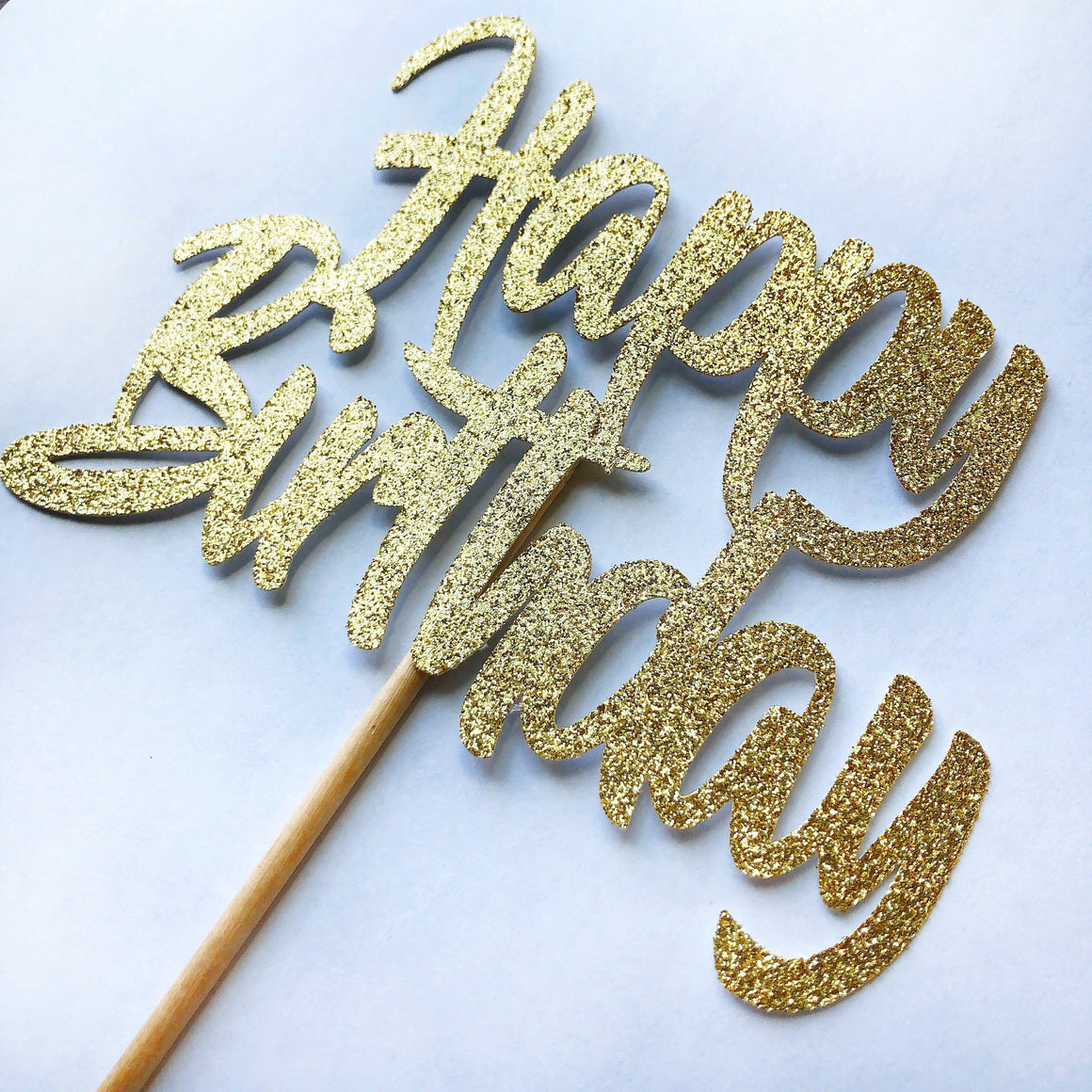 CAKE TOPPER - GLITTER HBD GOLD, Picks + Toppers, BON + CO - Bon + Co. Party Studio