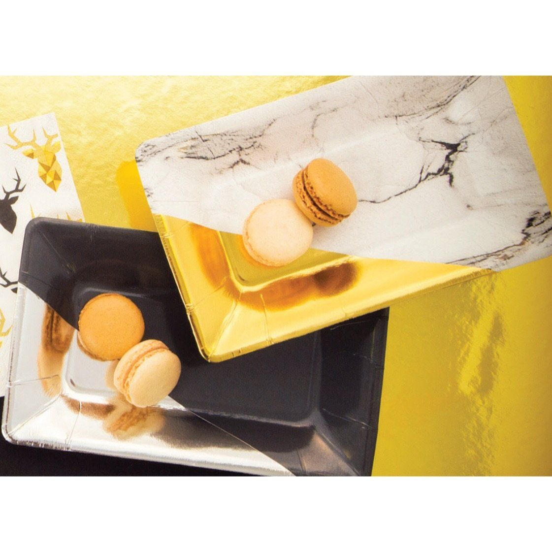 PLATES - SMALL RECTANGULAR MARBLE GOLD