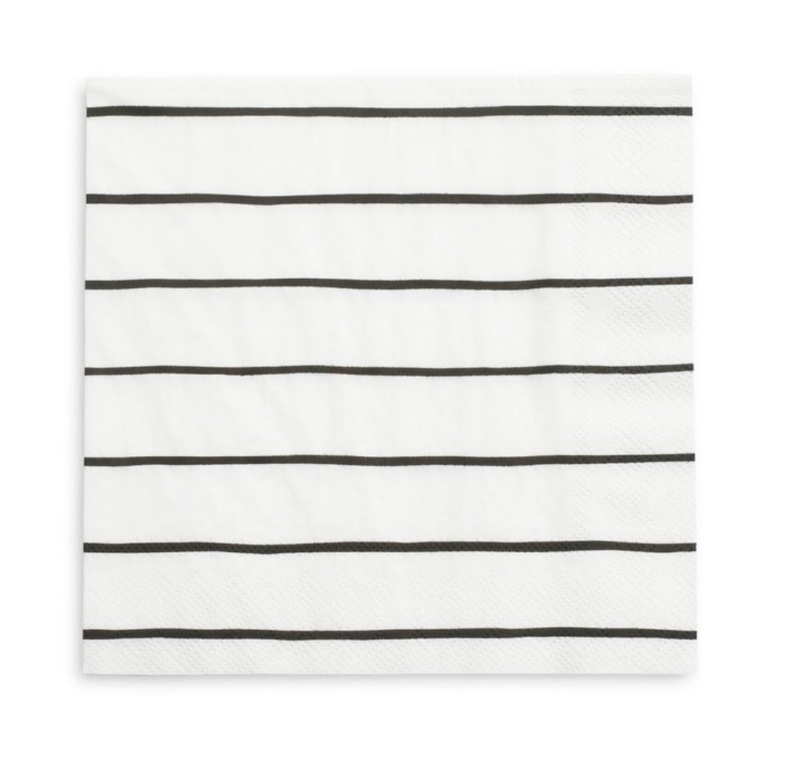 NAPKINS - LARGE DAYDREAM SOCIETY FRENCHIE STRIPES INK