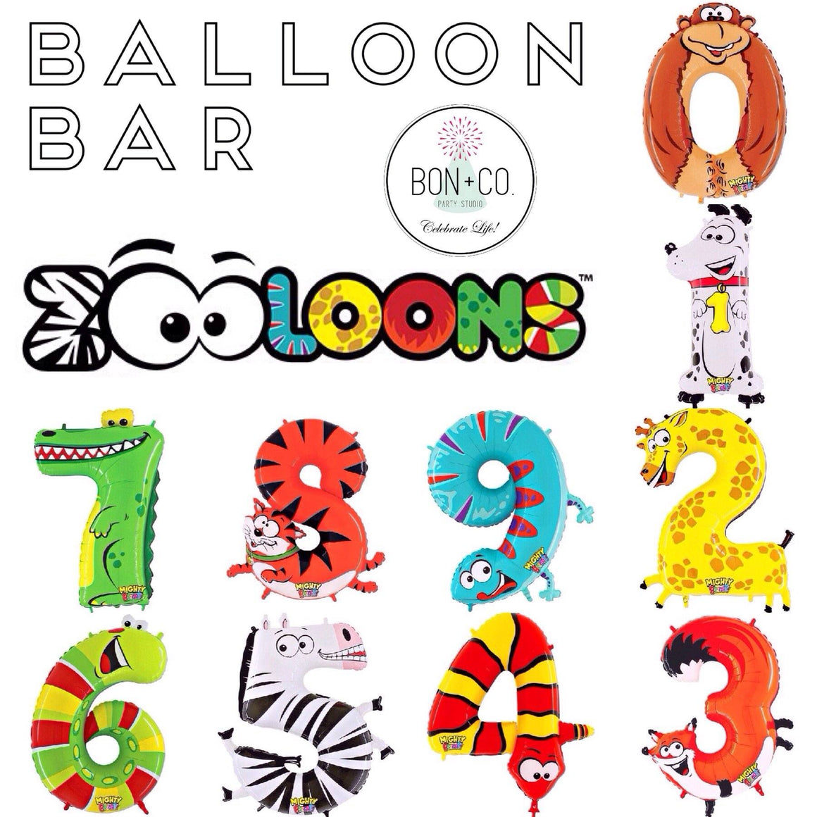 "BALLOON BAR - 40"" ZOOLOONS, Balloons, BETALLIC - Bon + Co. Party Studio"