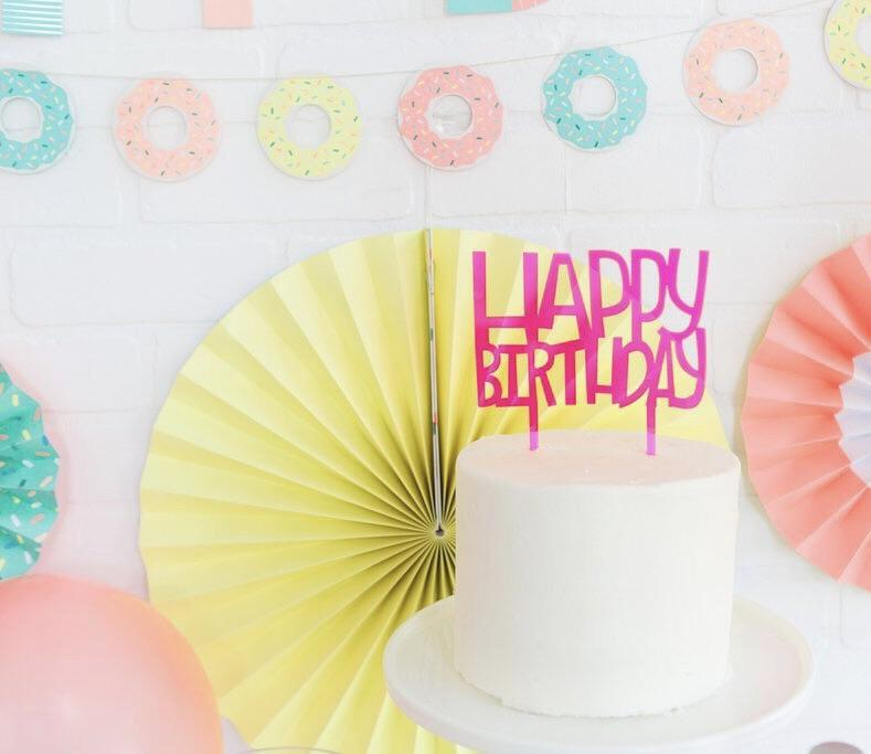 CAKE TOPPER - HAPPY BIRTHDAY NEON PINK ACRYLIC, Picks + Toppers, My Minds Eye - Bon + Co. Party Studio