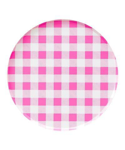 PLATES - LARGE PINK GINGHAM OH HAPPY DAY, PLATES, Oh happy day - Bon + Co. Party Studio