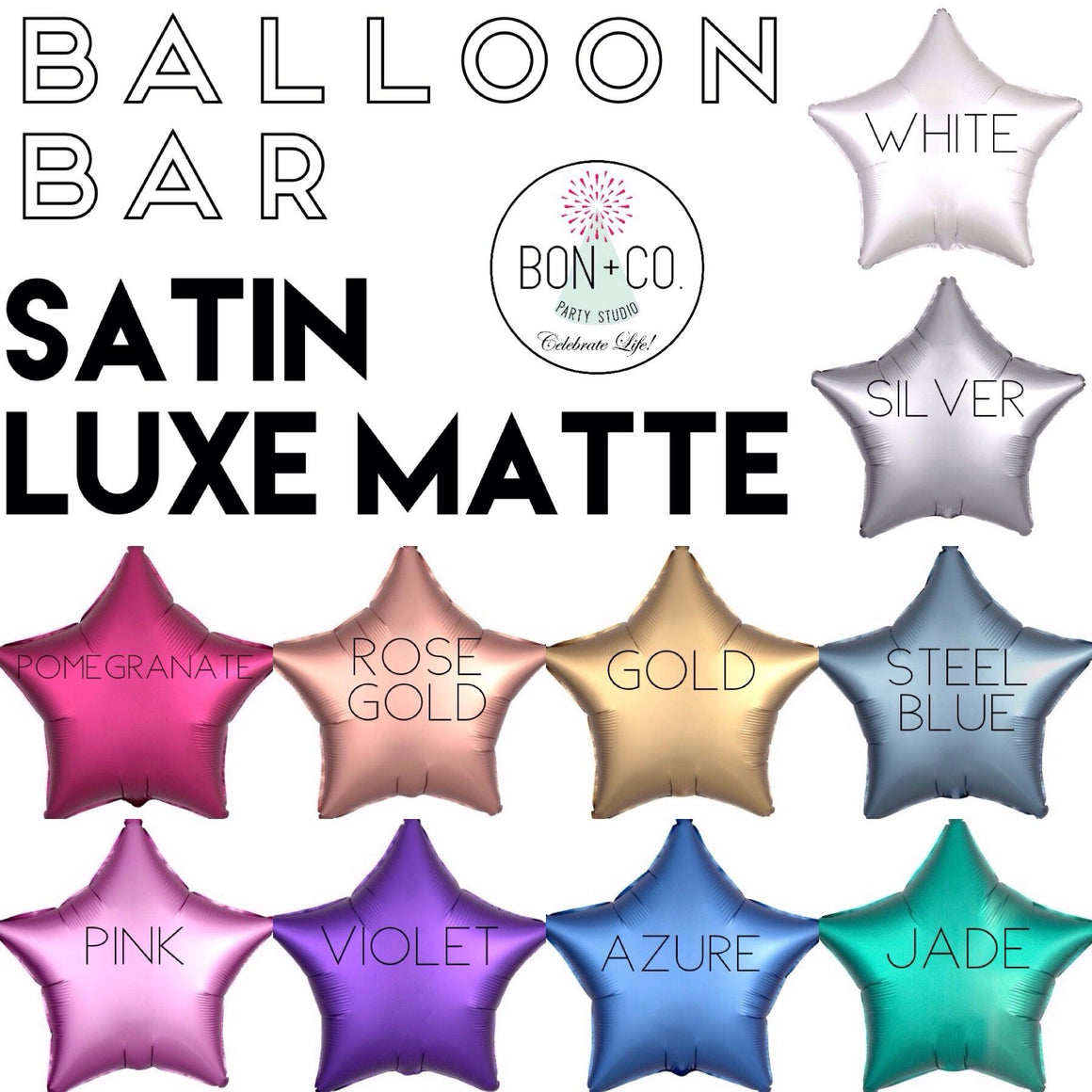 BALLOON BAR - STAR SATIN LUXE, Balloons, Anagram - Bon + Co. Party Studio