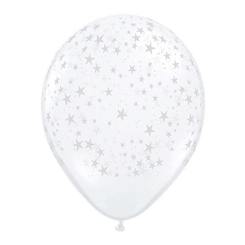 "BALLOON BAR - 11"" CLEAR WITH STARS, Balloons, QUALATEX - Bon + Co. Party Studio"