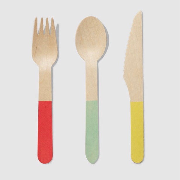 WOODEN CUTLERY SET - TRICOLORE
