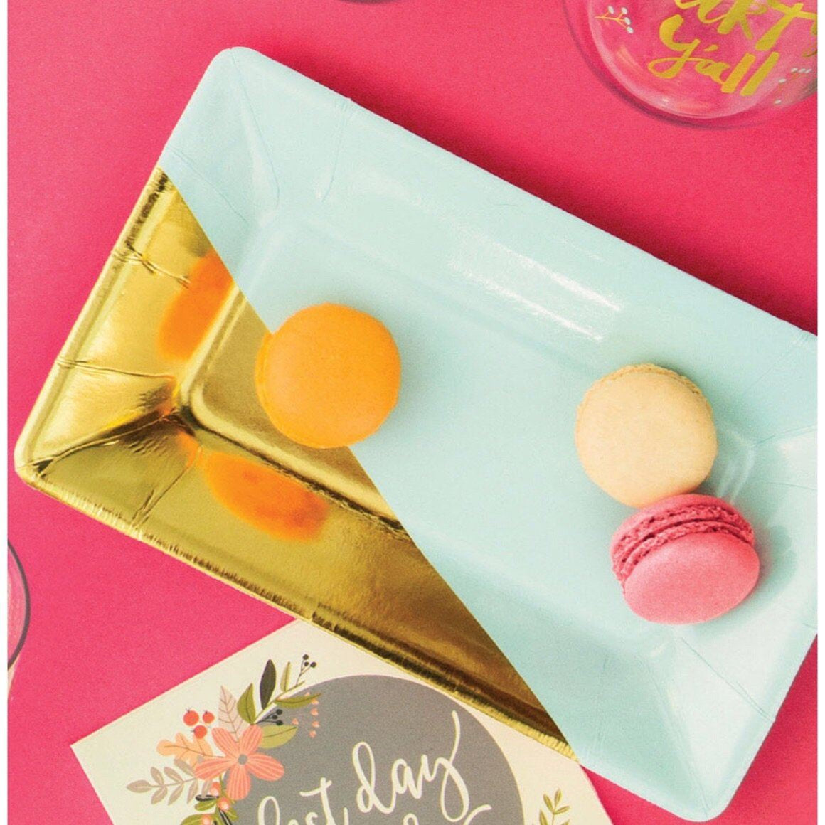 PLATES - SMALL RECTANGULAR MINT GOLD, PLATES, ELISE - CREATIVE CONVERTING - Bon + Co. Party Studio