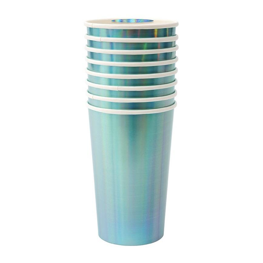 CUPS - MERI MERI HIGHBALL HOLOGRAPHIC BLUE