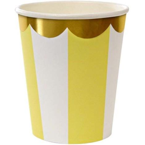 CUPS - MERI MERI YELLOW FAN STRIPE, CUPS, MERI MERI - Bon + Co. Party Studio