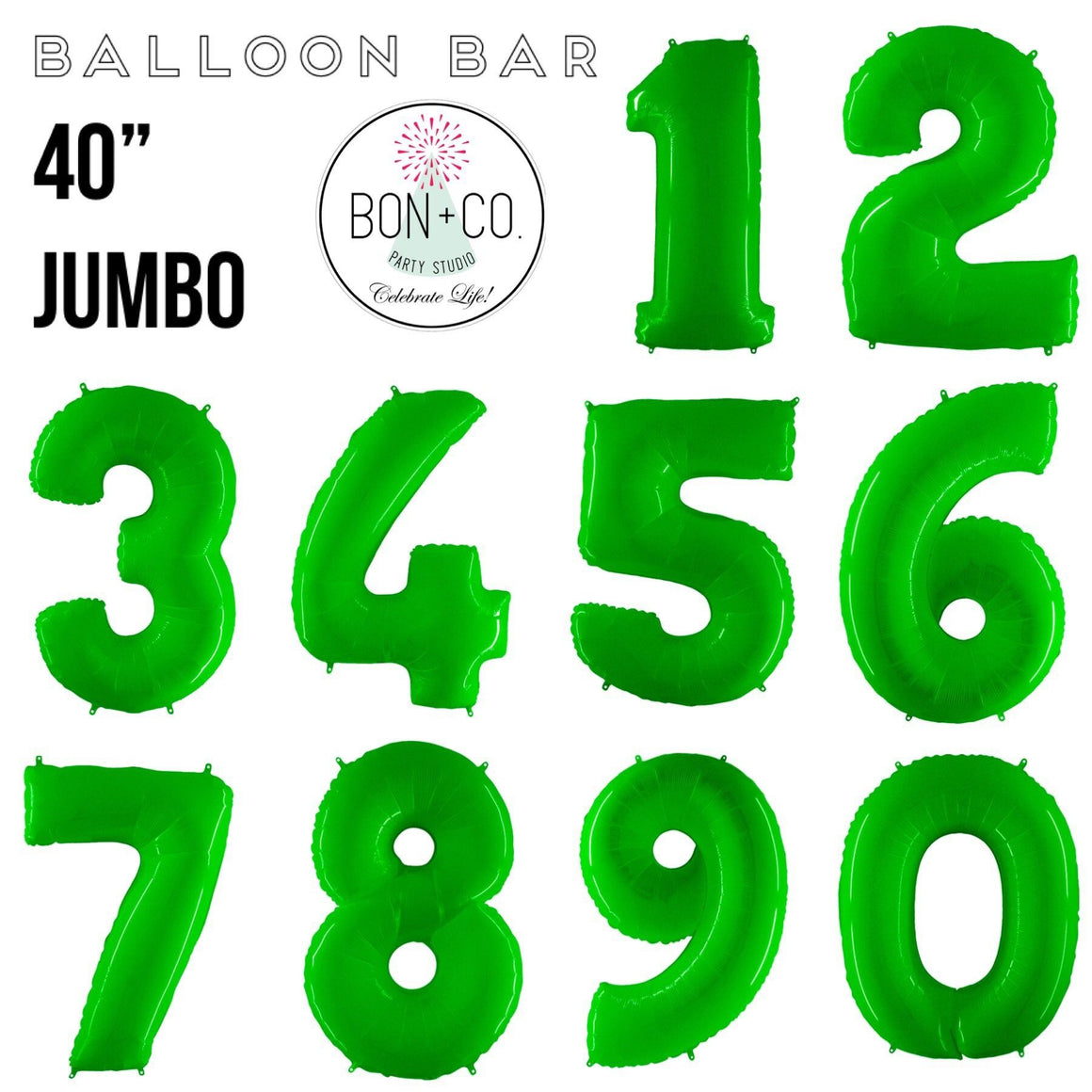"BALLOON BAR - 40"" JUMBO NUMBER BRIGHT LIME, Balloons, bargain balloons - Bon + Co. Party Studio"
