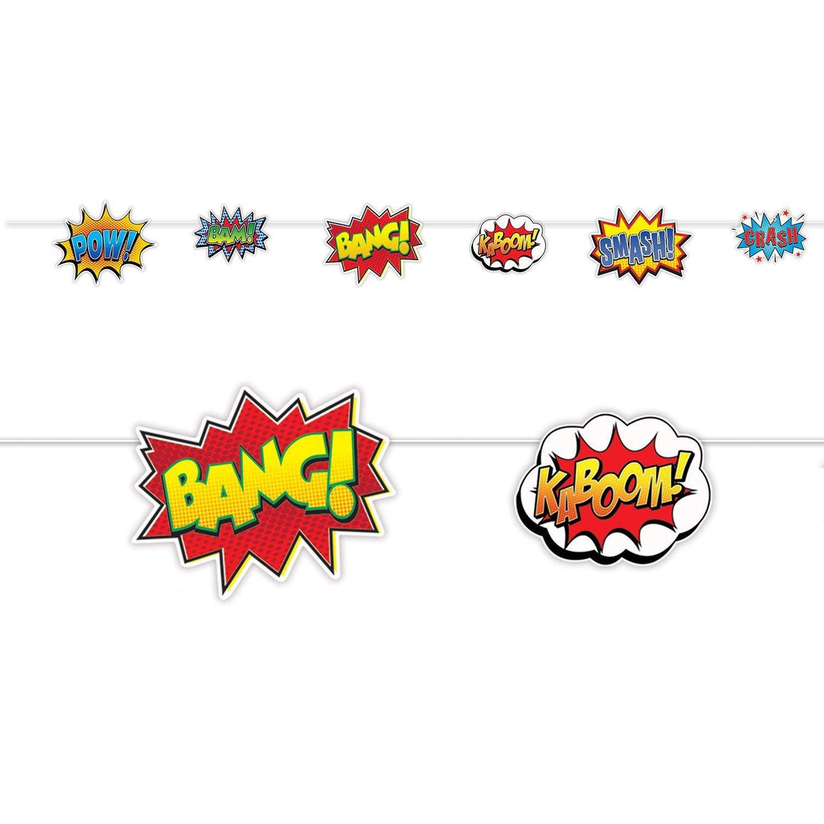BANNER - SUPERHERO ACTION SIGNS, Buntings, SKS - Beistle Co - Bon + Co. Party Studio