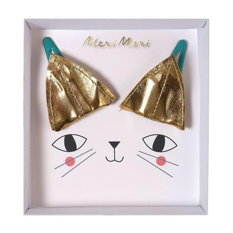 ACCESSORIES - HAIR CLIPS CAT EARS GOLD, ACCESSORIES, MERI MERI - Bon + Co. Party Studio