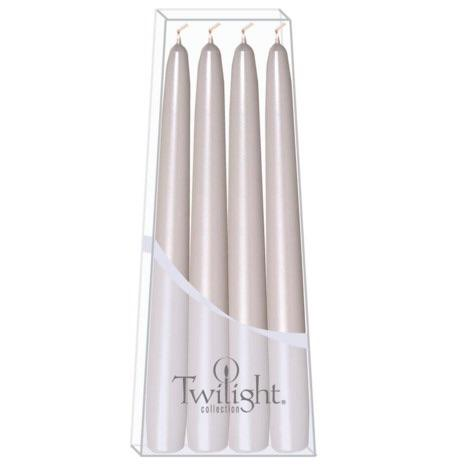 "HOME - TAPER CANDLES 10"" METALLIC WHITE"