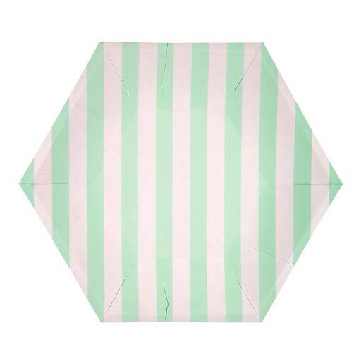 PLATES - LARGE MINT STRIPE HEXAGON, PLATES, MERI MERI - Bon + Co. Party Studio