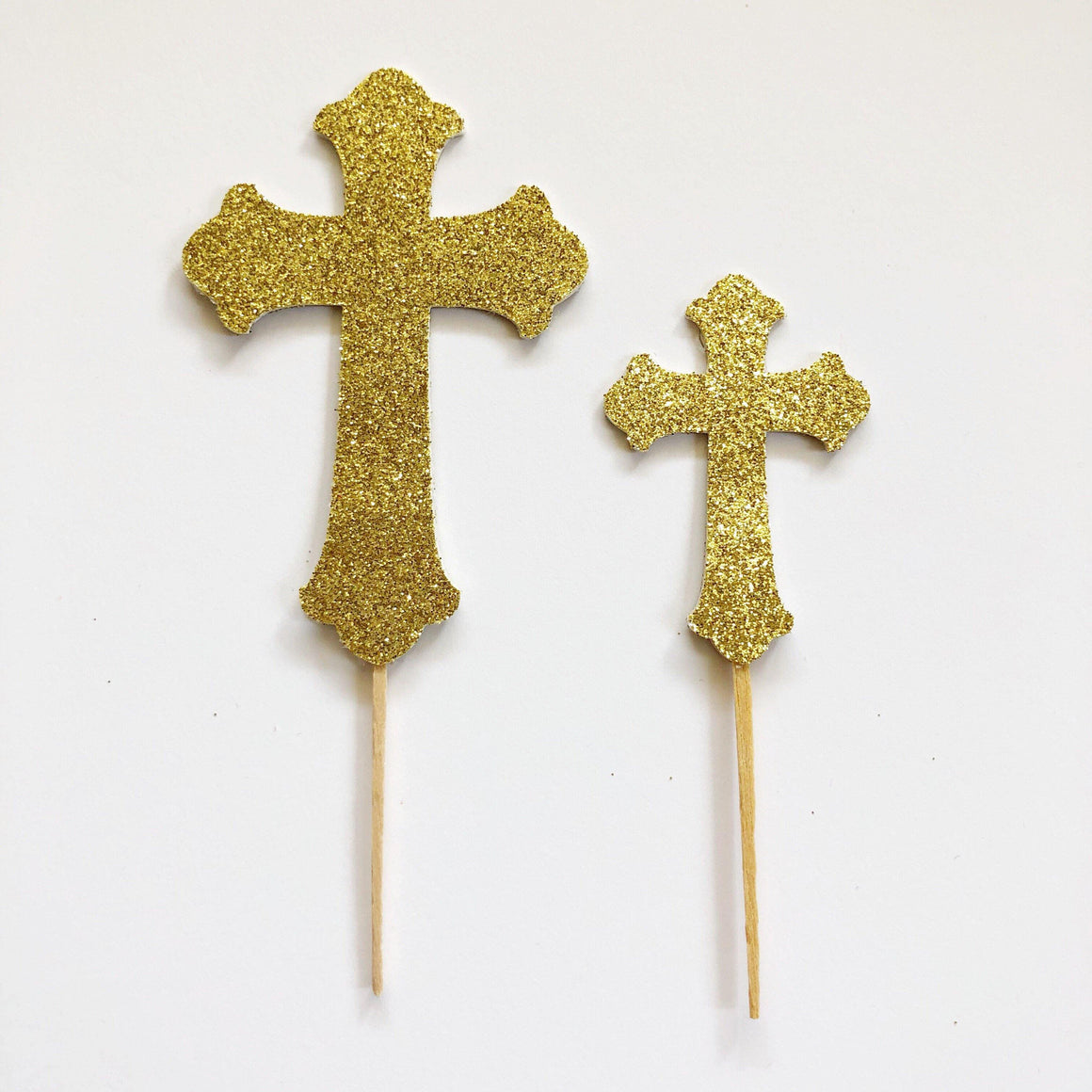 PARTY PICKS - CROSS GLITTER LARGE 2-SIDED, Picks + Toppers, BON + CO - Bon + Co. Party Studio