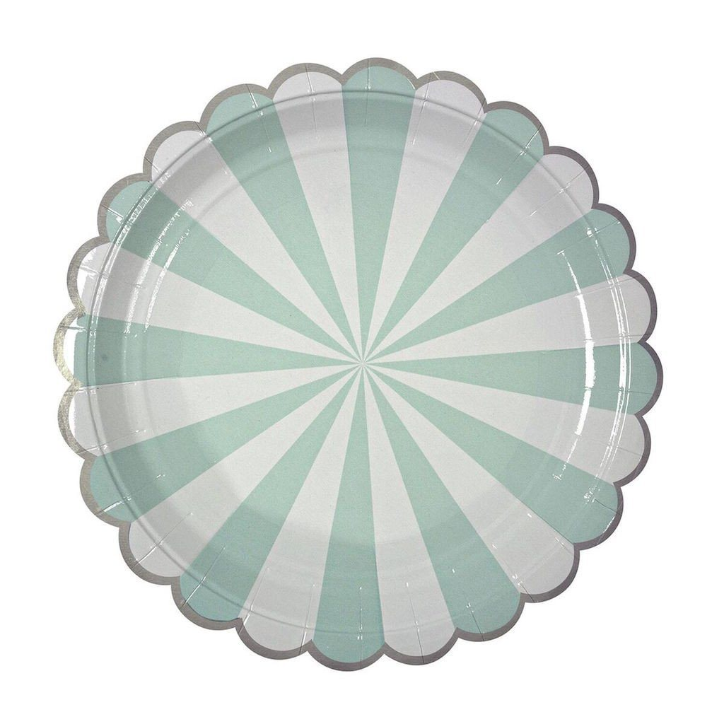 PLATES - SMALL PINWHEEL MINT FAN STRIPE, PLATES, MERI MERI - Bon + Co. Party Studio