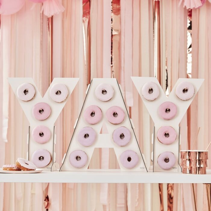 DONUT WALL - OMBRE PINK YAY, TREAT STAND, GINGER RAY - Bon + Co. Party Studio