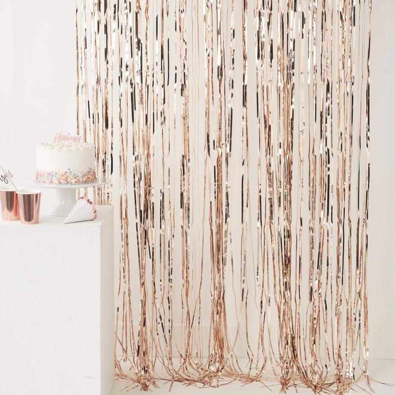 BACKDROP - FRINGE CURTAIN ROSE GOLD, Buntings, GINGER RAY - Bon + Co. Party Studio