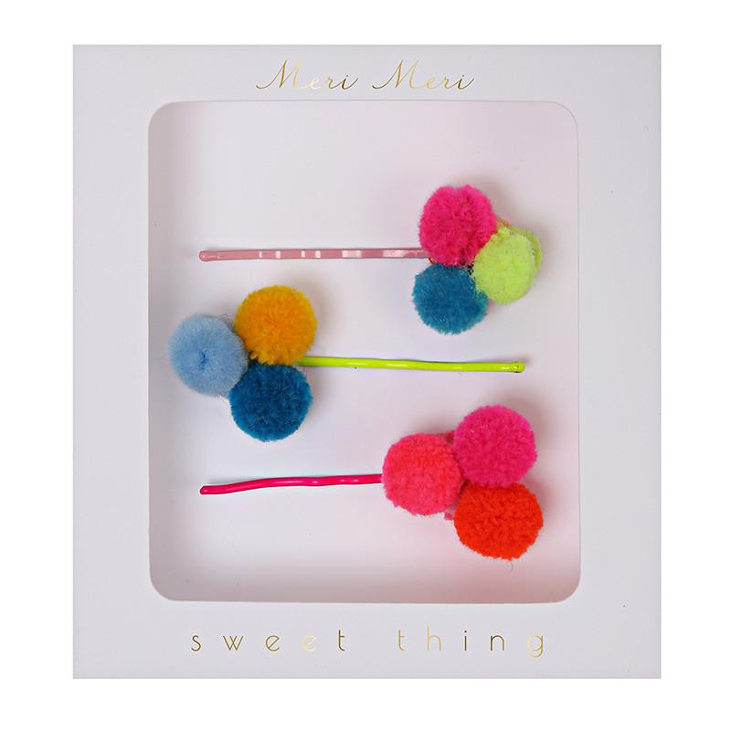 ACCESSORIES - HAIR SLIDES POM POM, ACCESSORIES, MERI MERI - Bon + Co. Party Studio