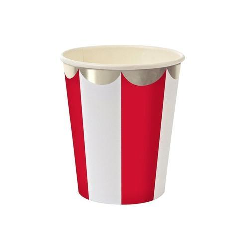 CUPS - RED STRIPE SILVER FOIL, CUPS, MERI MERI - Bon + Co. Party Studio