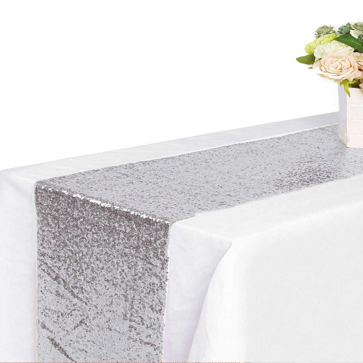 TABLERUNNER - SEQUIN SILVER, tablecovers, SKS - Beistle Co - Bon + Co. Party Studio