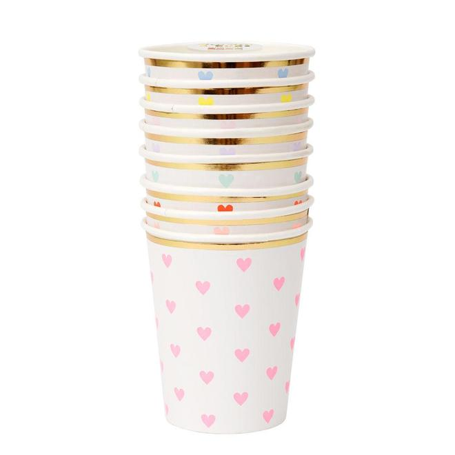 CUPS - MERI MERI PARTY PALETTE PASTEL HEART CUPS, CUPS, MERI MERI - Bon + Co. Party Studio