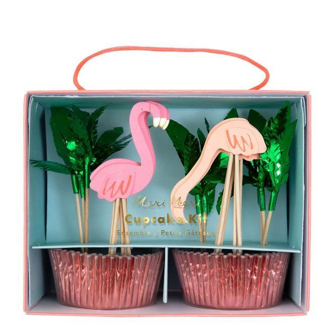 CUPCAKE KIT - MERI MERI FLAMINGO, Picks + Toppers, MERI MERI - Bon + Co. Party Studio