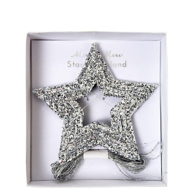 BANNER - MERI MERI SILVER GLITTER MINI STARS, Buntings, MERI MERI - Bon + Co. Party Studio