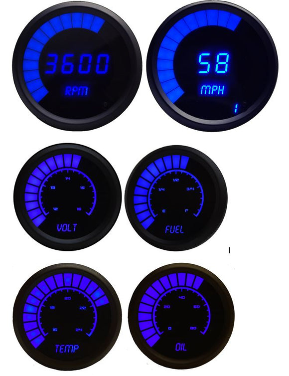 LED Multi-Gauge Set (speedo & tach 3 3/8) (bargraph volt, fuel, oil press w/sender, water temp w/sender 2 1/16th) Black Bezel