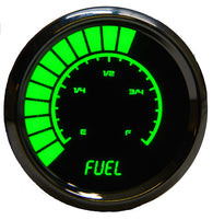 "LED Analog Bargraph Fuel Gauge 2  1/16""  programmable to  GM, Ford, Chrysler, VDO, Universal  w/chrome plated bezels"
