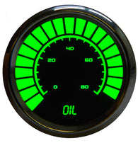 "LED Analog Bargraph Oil Pressure Gauge 2  1/16"" 0 to 80 psi w/chrome plated bezels (Includes sender)"