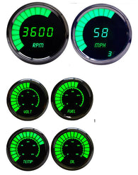LED Multi-Gauge Set (speedo & tach 3 3/8) (bargraph volt, fuel, oil press w/sender, water temp w/sender 2 1/16th) Chrome Bezel