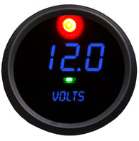 "LED DIGITAL Voltmeter 2 5/8"" 7.0 to 25.5 volts (includes- 2 programmaable alarms, activation switch) black bezel"