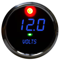 "LED DIGITAL Voltmeter 2 5/8"" 7.0 to 25.5 volts (includes- 2 programmaable alarms, activation switch) chrome bezel"