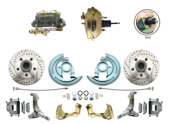 1962-1967 Nova Power Disc Brake Conversion Kit Drilled & Slotted Rotors w/ 9