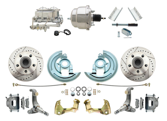 1962-1967 Nova Power Disc Brake Conversion Kit Drilled & Slotted Rotors w/ 7