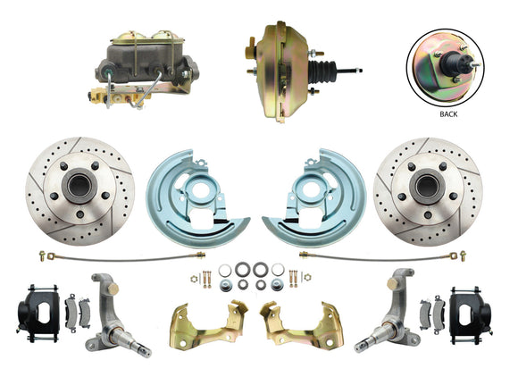 1962-1967 Nova Power Disc Brake Conversion Kit Drilled & Slotted Rotors Powder Coated Black Calipers w/ 9
